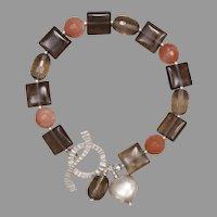 Smoky Quartz and Peachy Sunstone Silver Bracelet