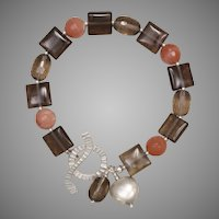 Smoky Quartz and Peachy Sunstone Silver Bracelet
