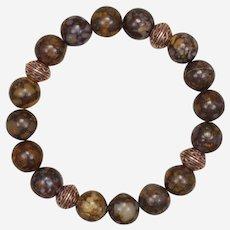 FIre Opal and Copper Stretch Bracelet