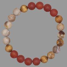 Wood Opalite and Carnelian with Brass Stretch Bangle Bracelet