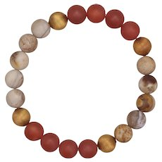 Wood Opalite and Carnelian with Brass Stretch Bangle Bracelet