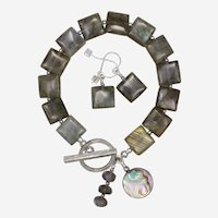 Shimmering Labradorite Bracelet and Earrings Set