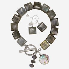 Shimmering Labradorite Bracelet and Earrings Set