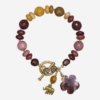 Mookaite Jasper 'Elephant with Flower' Bracelet
