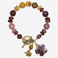 Mookaite Jasper 'Elephant with Flower' Bracelet