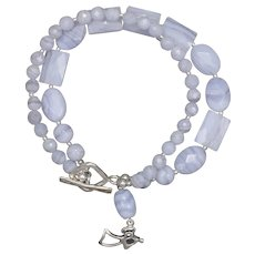 Double Stranded Blue Lace Agate 'Peace and Goodwill' Bracelet