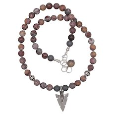 Artistic Jasper Necklace with Arrowhead Pendant