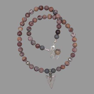 Artistic Jasper Necklace with Arrowhead Pendant
