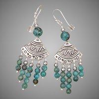 Natural Hubei Turquoise Chandelier Earrings