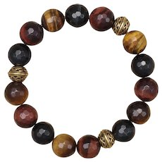 Yellow, Red and Blue Tiger Eye Stretch Bracelet