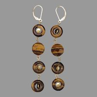 Golden Tiger Eye Quartet Earrings