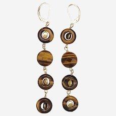 Golden Tiger Eye Quartet Earrings