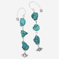 Turquoise Nuggets Flower Drop Earrings