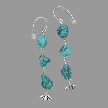 Turquoise Nuggets Flower Drop Earrings