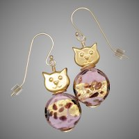 Pretty Pink Golden Cat Earrings