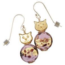 Pretty Pink Golden Cat Earrings
