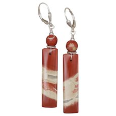 Red River Jasper and Sterling Silver Earrings