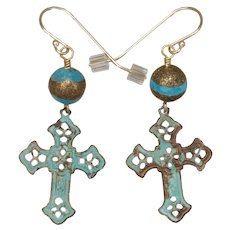 Turquoise, Copper and Brass Filigree Cross Earrings