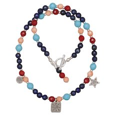 All Things Bright and Beautiful Silver Necklace with Turquoise, Coral and Lapis Lazuli