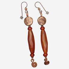 Long Carnelian and Copper Earrings