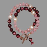 Pink and Cranberry Czech Glass Bead Double Wrap Bracelet with Freshwater Cultured Pearls