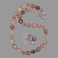 Shimmering Peach Moonstone and Silver Necklace and Earrings Set