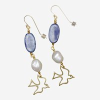 Blue Skies Earrings with Kyanite, Freshwater Cultured Pearls and Bird Charm