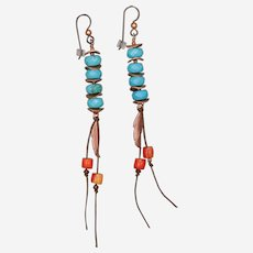 Boho Summer Earrings with Turquoise, Coral and Copper
