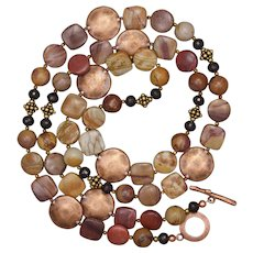 Red Garnet and Sunset Mookaite with Mixed Metals Necklace and Earrings Set