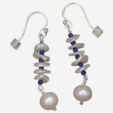 Freshwater Keshi Pearl Pagoda Earrings with Lapis Lazuli