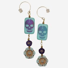 Pretty and Spooky Czech Glass Bead Earrings