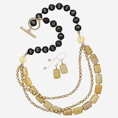 Yellow Fossil Coral and Cultured Freshwater Pearls with Black Agate