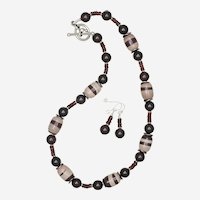 Zebra Jasper and Garnet Necklace and Earrings Set