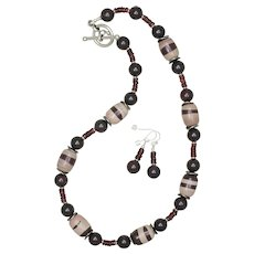 Zebra Jasper and Garnet Necklace and Earrings Set