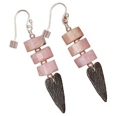 Peruvian Pink Opal and Heart Charm Earrings