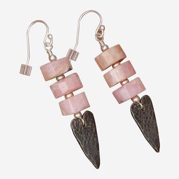 Peruvian Pink Opal and Heart Charm Earrings