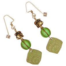 Green Spring Bunny Earrings