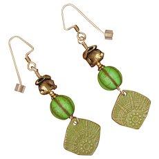 Green Spring Bunny Earrings