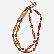 Long Carnelian and Tibetan Beads Necklace