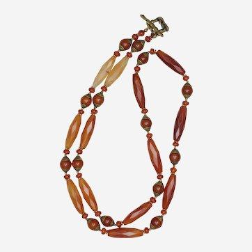 Long Carnelian and Tibetan Beads Necklace