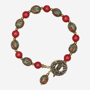 Red Coral and Tibetan Bead Bracelet