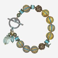 Blue Skies and Bird Bracelet with Czech Glass Beads and Mixed Metals