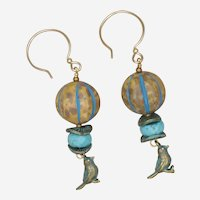 Blue Skies and Bird Earrings with Czech Melon Beads and Mixed Metals