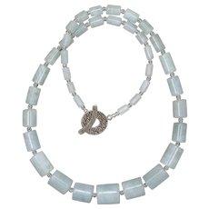 Graduated Natural Aquamarine Necklace