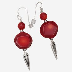 Red Coral Earrings with Spike Charm