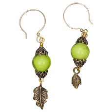 Peridot Venetian Glass Bead and Bronze Charm Earrings