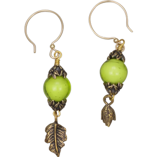 Peridot Venetian Glass Bead and Bronze Charm Earrings