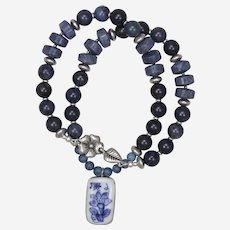 Blue Coral and Dumortierite with Porcelain Flower Pendant Necklace