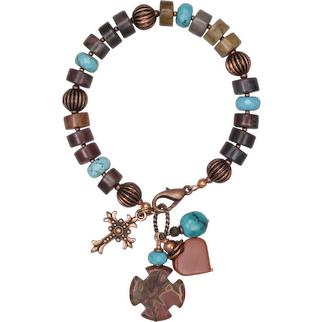 Earth and Sky Copper Bracelet with Red Creek Jasper and Turquoise