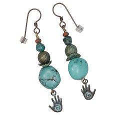 Turquoise and Brass Hamsa Earrings